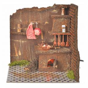 Home accessories miniatures: Nativity accessory, kitchen with flame effect bulb 20x14cm