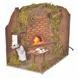 Nativity accessory, oven flame effect 20x14cm with pizzas s2