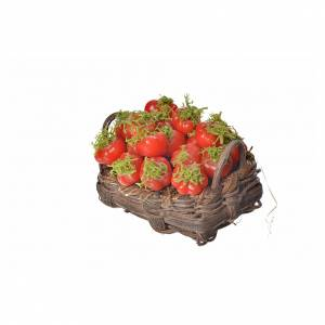 Nativity accessory, tomato basket in wax, 4.5x5.5x6cm s3