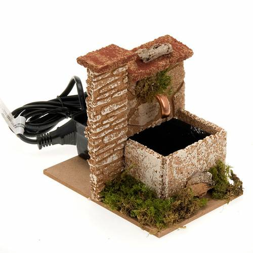 Nativity accessory, water fountain with wall in cork, 2,5 watt s3