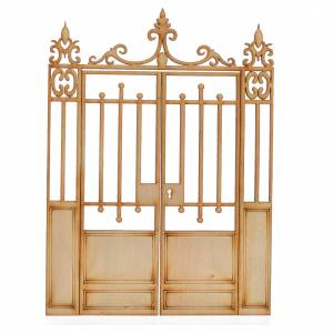 Balustrade, doors, railings: Nativity accessory, wooden gate, 2 doors 16.5x12cm