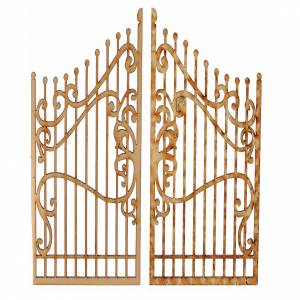 Balustrade, doors, railings: Nativity accessory, wooden gate, 2 pieces 15x7.5cm