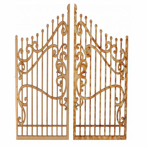 Nativity accessory, wooden gate, 2 pieces 15x7.5cm 1