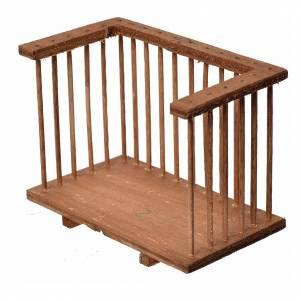 Balustrade, doors, railings: Nativity accessory, wooden square balcony, 6x8.5x5cm