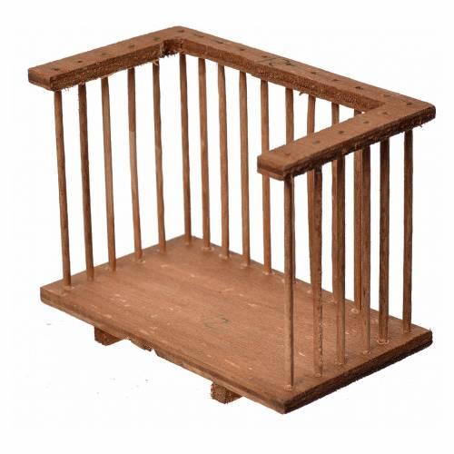 Nativity accessory, wooden square balcony, 6x8.5x5cm s2