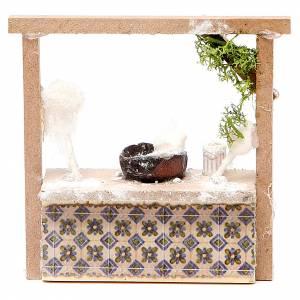 Miniature food: Nativity candy floss stall in wax, 10.5x11x4cm