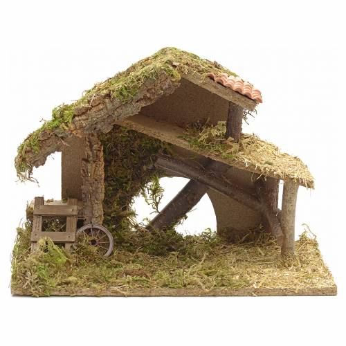 Nativity crib, moss and cork with manger and stairs s1