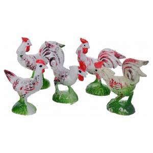 Nativity figurine, cocks and hens 5 pcs s1