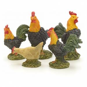 Nativity figurine, gallinaceans 12 cm set of 5 pcs s2