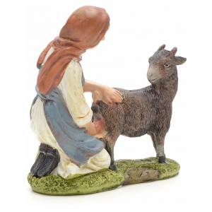 Nativity figurine, shepherdess milking cow 21cm s2