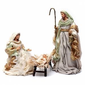 Nativity sets: Nativity in resin and taffeta green 48 cm