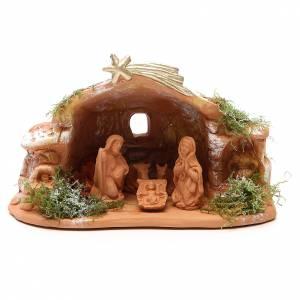 Terracotta Nativity Scene figurines from Deruta: Nativity in Terracotta with Hut h. 15x20x11cm