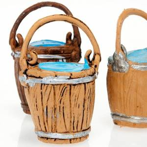 Miniature tools: Nativity scene accessories, 3-piece buckets with handle set