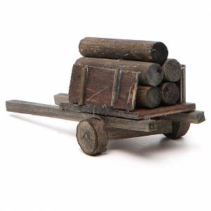 Nativity scene accessory, cart with logs s3