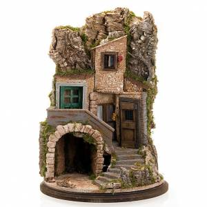 Stables and grottos: Nativity scene accessory, cave with hamlet, 70x50x37 cm