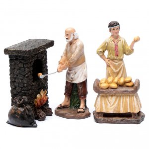 Nativity Scene figurines: Nativity scene bakers and oven 20 cm 3 pieces set