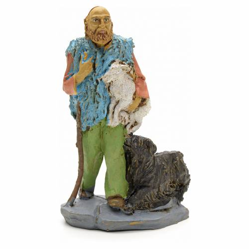Nativity scene figurine, shepherd with lamb 10cm s1