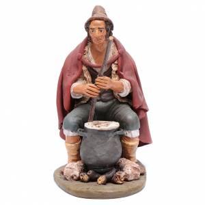 Terracotta Nativity Scene figurines from Deruta: Nativity Scene figurine, shepherd with ricotta 30cm Deruta