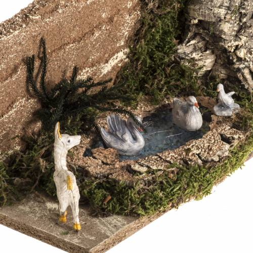 Nativity scene figurines, goat and 3 geese in the pond s2