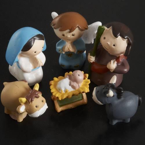 Nativity scene in coloured resin, 20 figurines 4,5cm s2