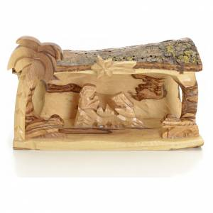 Nativity scene in log, Holy Land olive tree s1