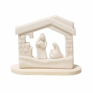 Stylized Nativity scene: Nativity scene, nativity stable in clay with base, 14,5cm