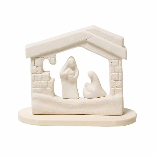 Nativity scene, nativity stable in clay with base, 14,5cm s1