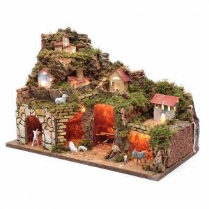Settings, houses, workshops, wells: Nativity scene setting houses with lights and sheep35x50x25 cm