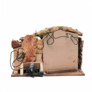Stables and grottos: Nativity scene setting35x50x30 cm with lights, little houses and hut
