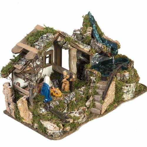 Nativity Scene stable refuge style 28x48x24 cm s6