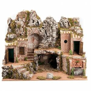 Stables and grottos: Nativity scene, village and electrical fountain