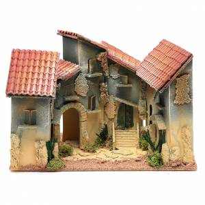 Settings, houses, workshops, wells: Nativity scene village with arch 25x30x20 cm