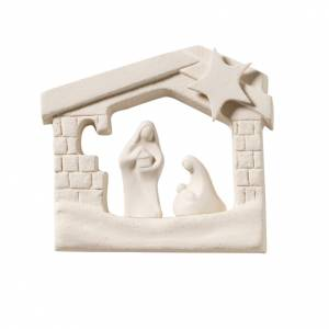 Stylized Nativity scene: Nativity scene, wall nativity stable in clay, 13,5cm