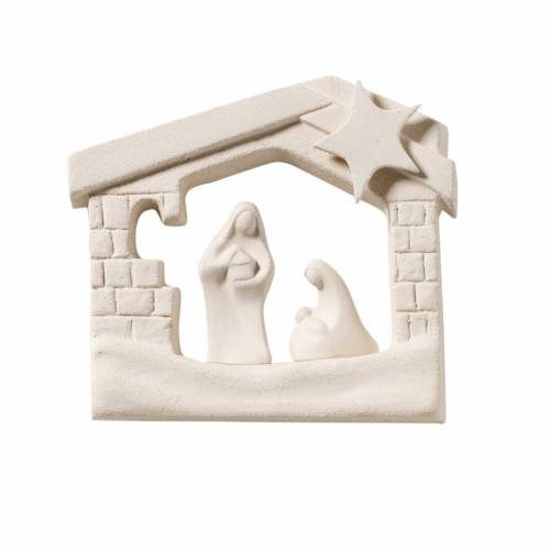 Nativity scene, wall nativity stable in clay, 13,5cm s1