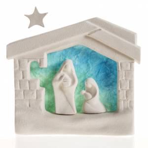 Stylized Nativity scene: Nativity scene, wall nativity stable in clay, blue
