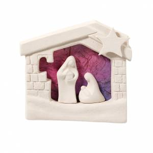 Stylized Nativity scene: Nativity scene, wall nativity stable in clay, purple 13,5cm