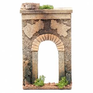 Settings, houses, workshops, wells: Nativity scene wall with arch in cork 25x15x5 cm