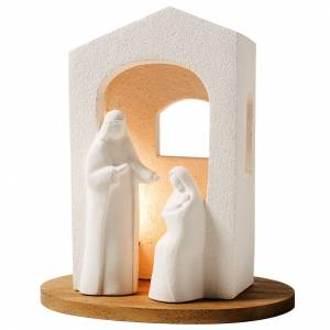 Stylized Nativity scene: Nativity scene with light in white clay, 25,5cm