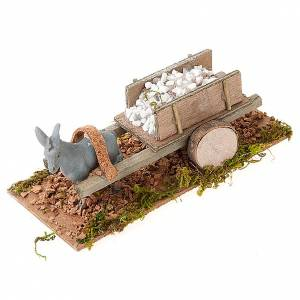 Animals for Nativity Scene: Donkey with cart carrying stones, Nativity Scene 8cm