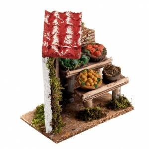 Miniature food: Nativity set accessory, fruit stall with porch and door