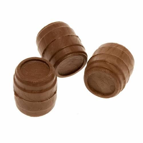 Nativity set accessory, set of 3 dark wood-effect barrels 2