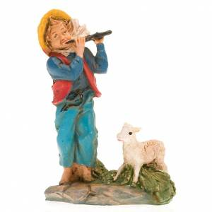 Nativity set accessory, Shepherd with flute and sheep s3