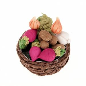 Miniature food: Nativity set accessory,wicker basket with turnips and vegetables
