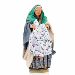 Neapolitan Nativity Scene: Nativity set accessory Woman with cloth 14 cm