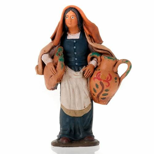 Nativity set accessory  Woman with jars clay figurine s1