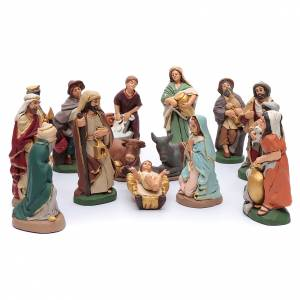 Terracotta Nativity Scene figurines from Deruta: Nativity set in painted clay 15 figurines 20cm