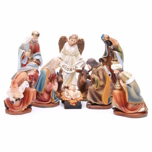 Nativity set in resin, 11 figurines measuring 14cm s1