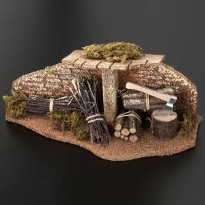 Nativity set setting, hatchet with bundles and roof s3