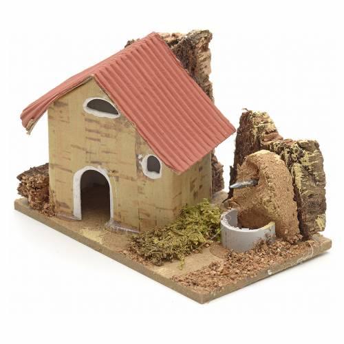 Nativity setting, cardboard houses 10x6cm s2