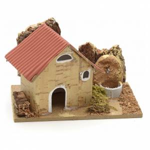Nativity setting, cardboard houses 10x6cm s1